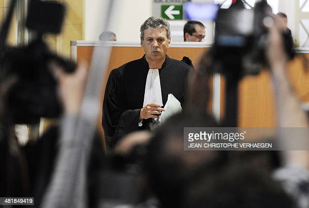 Thomas Hellenbrand lawyer of Henri Leclaire leaves after the trial of French serial killer Francis Heaulme was postponed on April 1 2014 in Metz...
