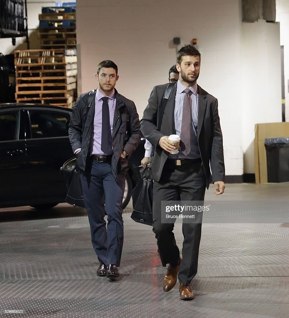 Thomas Hickey #14 and Frans Nielsen #51 of the New York Islanders arrive for the game against the Tampa Bay Lightning in Game Four of the Eastern Conference Second Round during the 2016 NHL Stanley Cup Playoffs at the Barclays Center on May 06, 2016 in the Brooklyn borough of New York City.