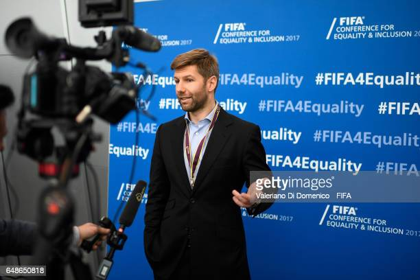 Thomas Hitzlsperger former captain of the German national team speaks during the FIFA Annual Conference for Equality Inclusion at the Home of FIFA on...