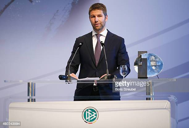 Thomas Hitzlsperger former german national player holds a speech during the JuliusHirschPreis Awarding Ceremony 2015 of the German Football...
