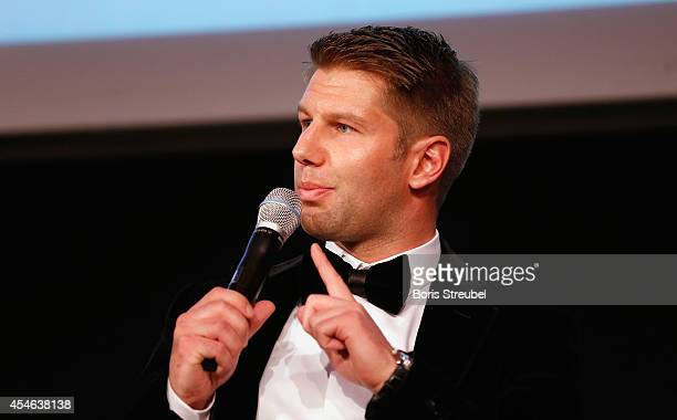 Thomas Hitzlsperger former international football player of Germany talks during the panel discussion after the charity dinner of the Magnus...