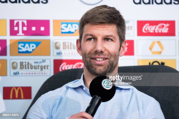 Thomas Hitzlsperger looks on during a DFB Press Conference to announce him as new Ambassador for Diversity at DFB Headquarter on May 30 2017 in...