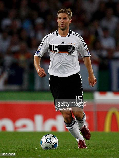 Thomas Hitzlsperger of Germany runs with the ball during the FIFA 2010 World Cup Group 4 Qualifier match between Germany and Azerbaijan at the AWD...