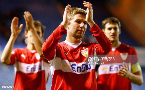 Thomas Hitzlsperger of VfB Stuttgart celebrates victory at the end of the UEFA Champions League Group G match between Rangers and VfB Stuttgart at...