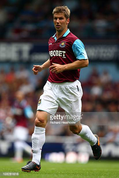 Thomas Hitzlsperger of West Ham in action during the preseason friendly match between West Ham United and Deportivo La Coruna at Upton Park on August...