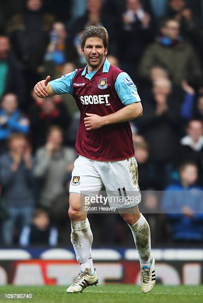 Thomas Hitzlsperger of West Ham United celebrates scoring his sides third goal during the Barclays Premier League match between West Ham United and...
