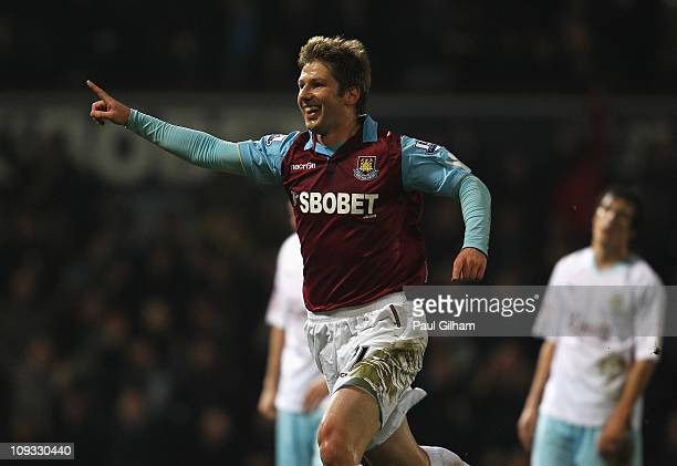 Thomas Hitzlsperger of West Ham United celebrates the opening goal during the FA Cup sponsored by EON 5th Round match between West Ham United and...