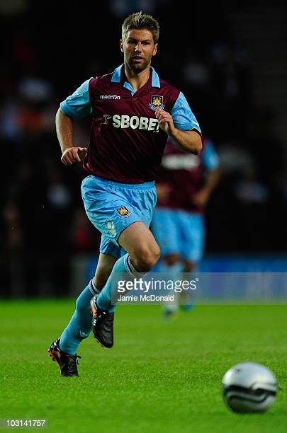 Thomas Hitzlsperger of West Ham United in action during the preseason friendly match between MK Dons and West Ham United at the Stadium MK on July 28...