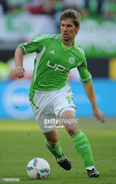 Thomas Hitzlsperger of Wolfsburg in action during the Bundesliga match between VfL Wolfsburg and 1 FC Nuernberg at Volkswagen Arena on October 15...