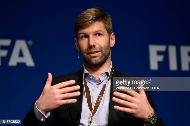Thomas Hitzlspergerformer captain of the German men's national team during the FIFA Annual Conference for Equality Inclusion at the Home of FIFA on...