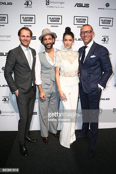 Thomas Hoehn Massimo Sinato Rebecca Mir and Andreas Rebbelmund attend the Breuninger show during Platform Fashion January 2017 at Areal Boehler on...