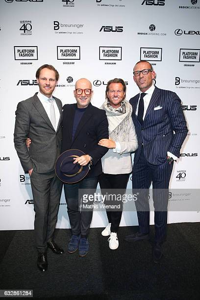 Thomas Hoehn Thomas Rath Sandro Rath and Andreas Rebbelmund attend the Breuninger show during Platform Fashion January 2017 at Areal Boehler on...