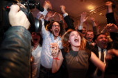 Thomas Hollande Son and manager of the web campaign of PresidentElect Francois Hollande reacts with his team to the victory at the French...