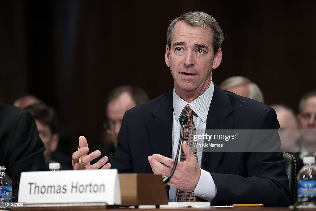 Thomas Horton testifies during a hearing of the Senate Judiciary Committee on Capitol Hill March 19, 2013 in Washington, DC. Parker and Horton testified before the committee on the topic of 'The American Airlines/US Airways Merger: Consolidation, Competition, and Consumers.'