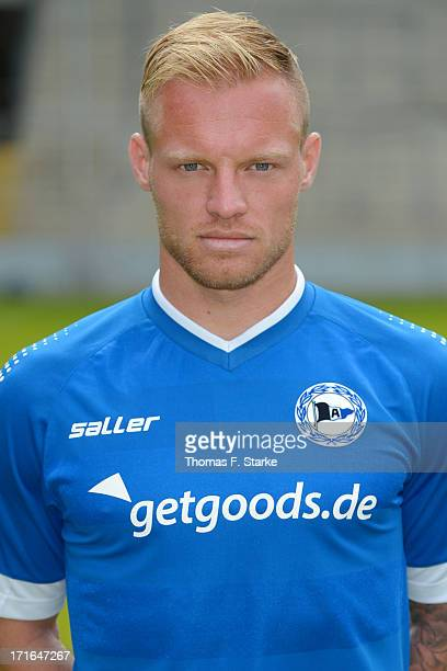 Thomas Huebener poses during the Second Bundesliga team presentation of Arminia Bielefeld at Schueco Arena on June 27 2013 in Bielefeld Germany