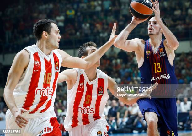 Thomas Huertel of Barcelona in action against Nikola Radicevic and Stefan Jankovic of Crvena Zvezda during the 2017/2018 Turkish Airlines EuroLeague...