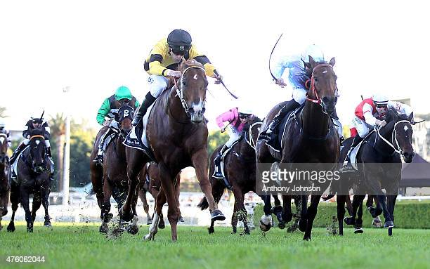 Thomas Huet rides Wouldn't It Be Nice to win race 6 The POWHF Tommy Raudonikis OAM June Stakes during Sydney Racing at Royal Randwick Racecourse on...