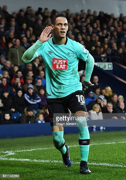 Thomas Icnce of Derby County celebrates after scoring his sides second goal during the Emirates FA Cup Third Round match between West Bromwich Albion...
