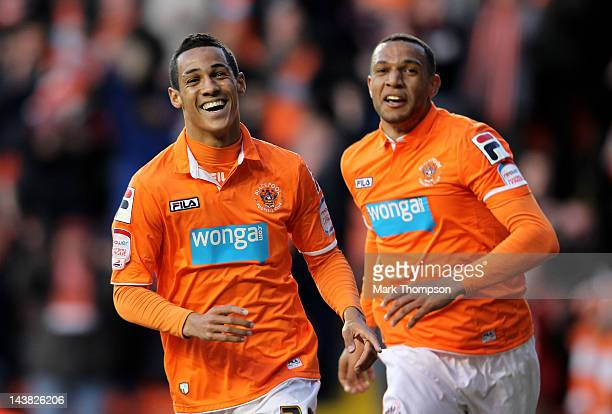 Thomas Ince of Blackpool celebrates with after scoring the opening goal during the npower Championship Playoff Semi Final 1st leg match between...