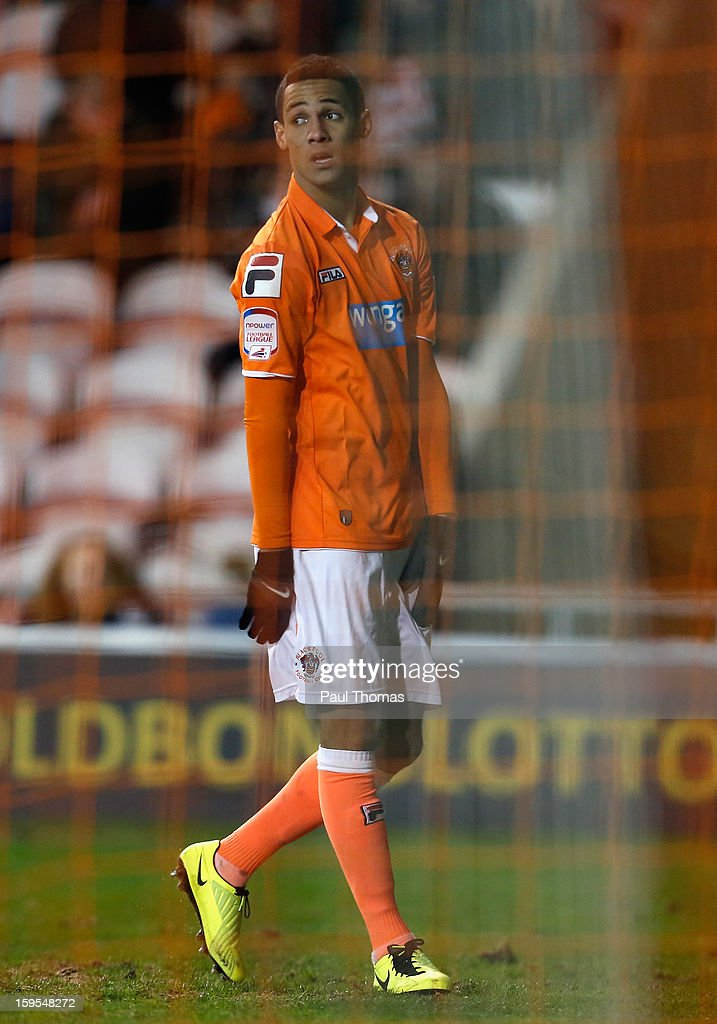 Thomas Ince of Blackpool looks on dejectedly during the FA Cup with Budweiser Third Round Replay match between Blackpool and Fulham at Bloomfield Road on January 15, 2013 in Blackpool, England.
