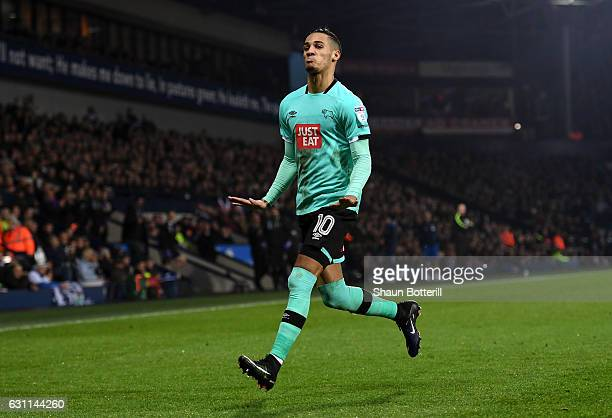 Thomas Ince of Derby County celebrates after scoring his sides second goal during the Emirates FA Cup Third Round match between West Bromwich Albion...