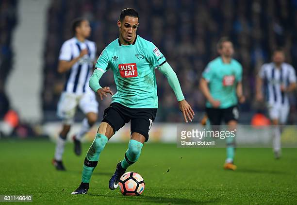 Thomas Ince of Derby County in action during the Emirates FA Cup Third Round match between West Bromwich Albion and Derby County at The Hawthorns on...