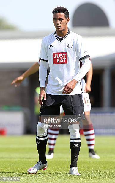 Thomas Ince of Derby County in action during the PreSeason Friendly match between Northampton Town and Derby County at Sixfields Stadium on July 18...