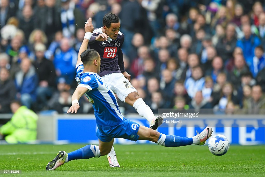Thomas Ince of Derby County shoots on goal under pressure from <a gi-track='captionPersonalityLinkClicked' href=/galleries/search?phrase=Liam+Rosenior&family=editorial&specificpeople=224912 ng-click='$event.stopPropagation()'>Liam Rosenior</a> of Brighton and Hove Albion during the Sky Bet Championship match between Brighton and Hove Albion and Derby County at the Amex Stadium on May 2, 2016 in Brighton, United Kingdom.