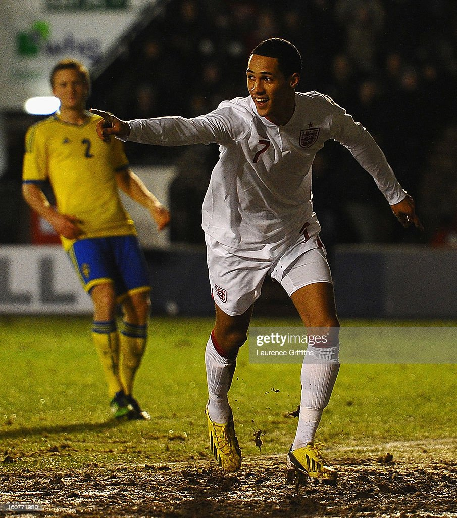 Thomas Ince of England celebrates scoring the opening goal during the U-21 International match between England U-21 and Sweden U-21 at Banks' Stadium on February 5, 2013 in Walsall, England.