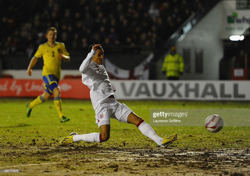 Thomas Ince of England scores the opening goal during the U-21 International match between England U-21 and Sweden U-21 at Banks' Stadium on February 5, 2013 in Walsall, England.