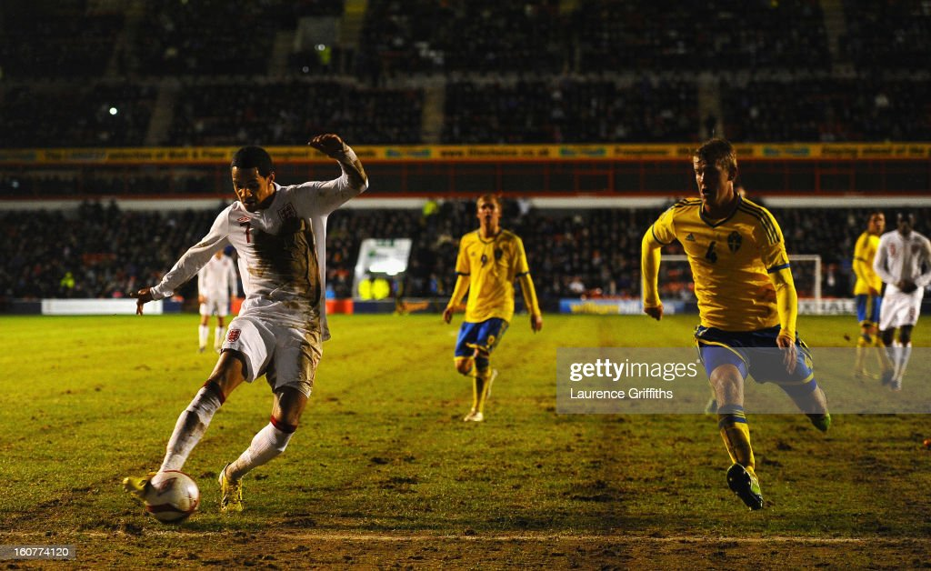 Thomas Ince of England scores the third goal during the U-21 International match between England U-21 and Sweden U-21 at Banks' Stadium on February 5, 2013 in Walsall, England.