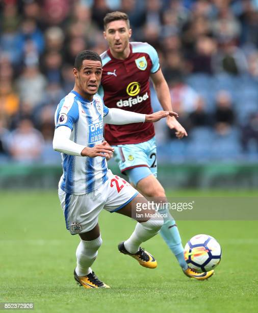 Thomas Ince of Huddersfield Town controls the ball during the Premier League match between Burnley and Huddersfield Town at Turf Moor on September 23...