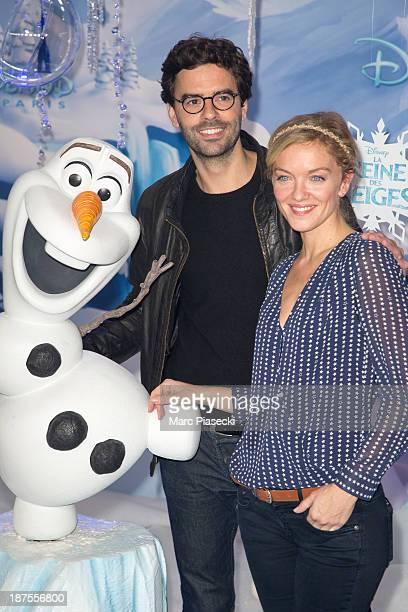 Thomas Isle and Maya Lauque attend the Christmas season launch at Disneyland Paris on November 9 2013 in Paris France