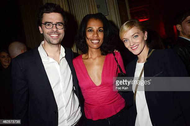 Thomas Isle from La Quotidienne on France 5 Elisabeth Tchoungui and Maya Lauque attend the 'Les Gerard De La Television 2014' Award Ceremony At La...