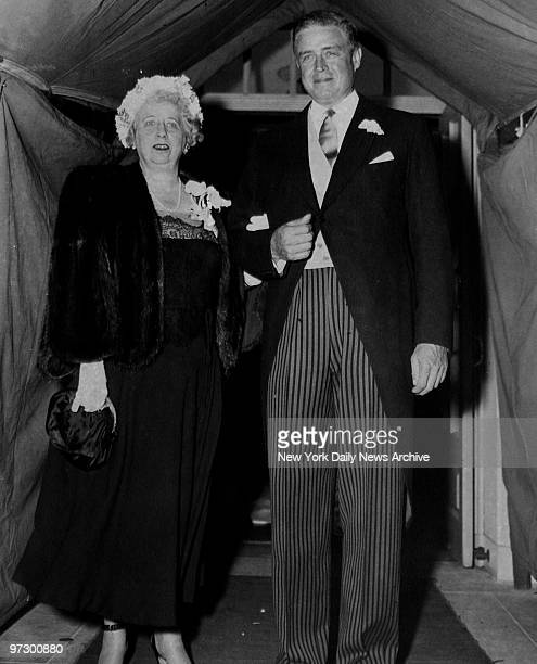 Thomas J Watson Jr and Mrs Harry Truman attending the wedding of Mr and Mrs John Nicole Irwin The bride was the former Jane Watson daughter of Mr and...