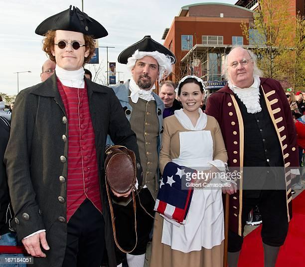 Thomas Jefferson John Hancock Betsy Ross and Ben Franklin impersonators attend the Phanatic's big birthday bash the 'Time Traveling Phanatic'...