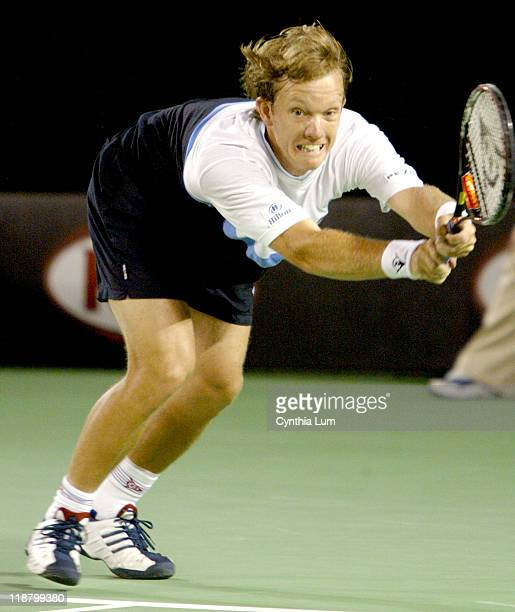 Thomas Johansson in action against Mark Philippoussis in their first round match at the 2004 Australian Open