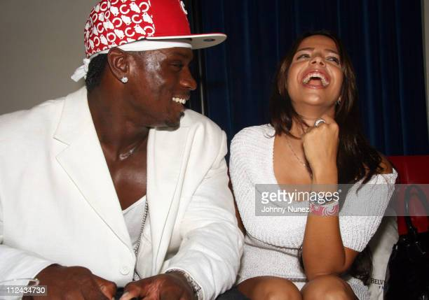Thomas Jones and Vida Guerra during Chicago Bears Adewale Ogunleye and Thomas Jones Birthday Party August 25 2006 at Victor Hotel in Chicago Illinois...