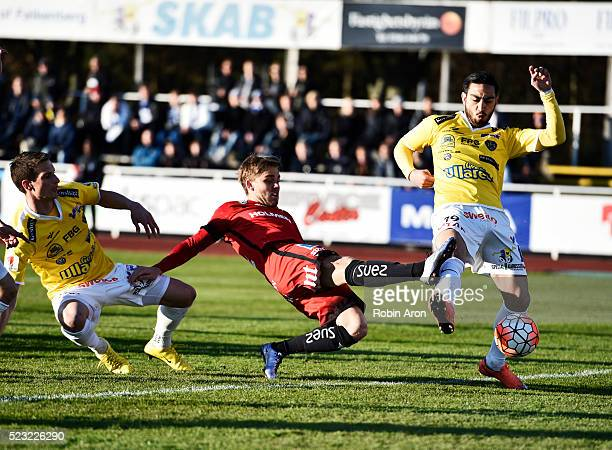 Thomas JuelNielsen of Falkenberg Alexander Jakobsen of Falkenberg and Christoffer Nyman of IFK Norrkoping competes for the ball during the...