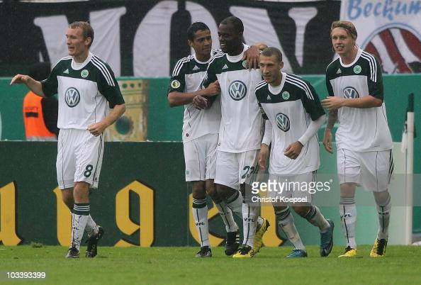 Thomas Kahlenberg Cicero Grafite Fabian Johnson and Simon Kjaer of Wolfsburg celebrate the decision second goal of Grafite during the DFB Cup first...