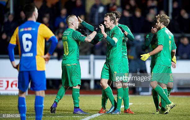 Thomas Kahlenberg of Brondby IF and Magnus Eriksson celebrate after scoring their third goal during the Danish Cup DBU Pokalen quarterfinal match...