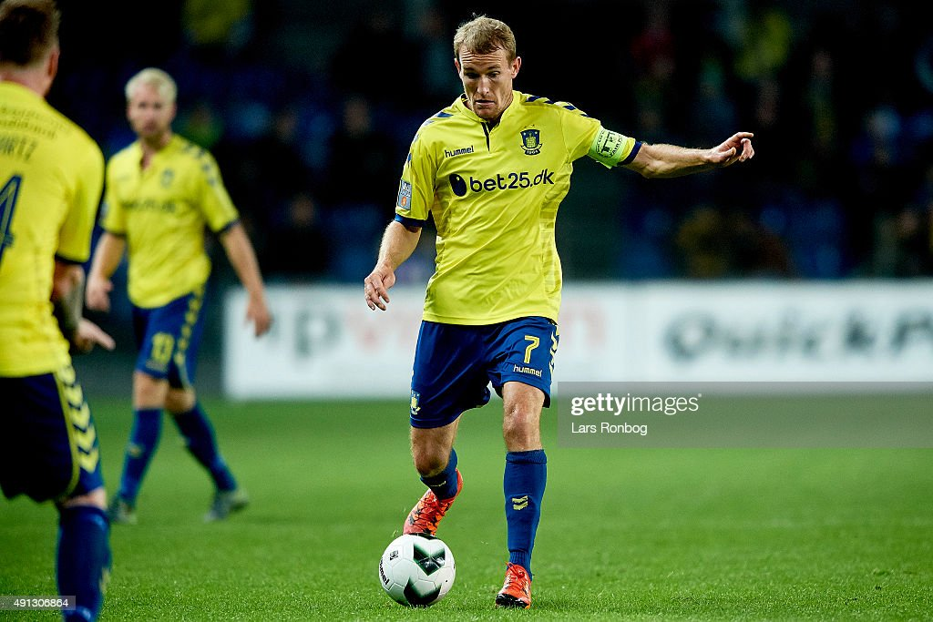 Thomas Kahlenberg of Brondby IF controls the ball during the Danish Alka Superliga match between Brondby IF and Esbjerg fB at Brondby Stadion on October 4, 2015 in Brondby, Denmark.