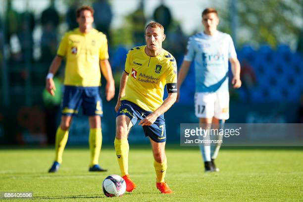 Thomas Kahlenberg of Brondby IF controls the ball during the Danish Alka Superliga match between SonderjyskE and Brondby IF at Sydbank Park on May 21...