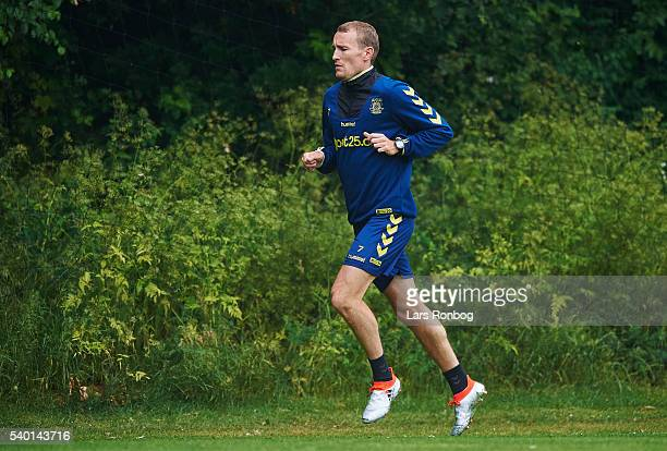Thomas Kahlenberg of Brondby IF in action during the Brondby IF training session at Brondby Stadion on June 14 2016 in Brondby Denmark