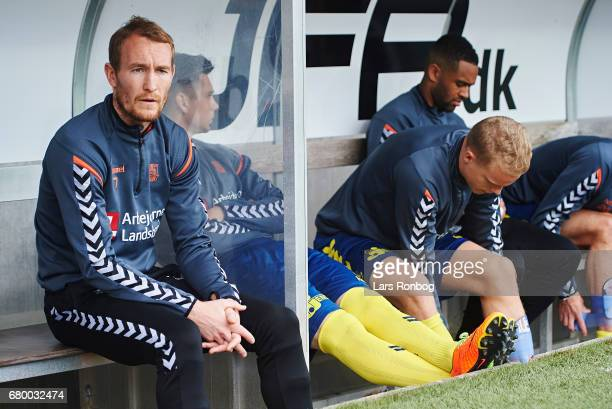Thomas Kahlenberg of Brondby IF looks on from the bench prior to the Danish Alka Superliga match between FC Midtjylland and Brondby IF at MCH Arena...