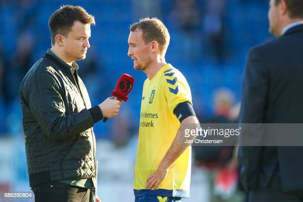 Thomas Kahlenberg of Brondby IF talk to the media after the Danish Alka Superliga match between SonderjyskE and Brondby IF at Sydbank Park on May 21...