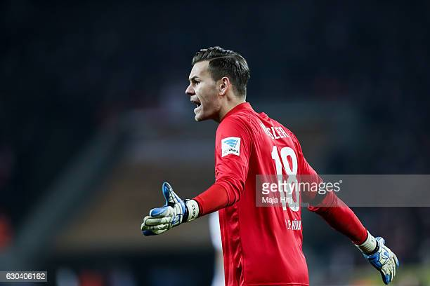 Thomas Kessler goalkeeper of Koeln reacts during the Bundesliga match between 1 FC Koeln and Bayer 04 Leverkusen at RheinEnergieStadion on December...