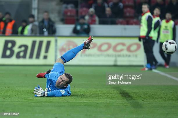 Thomas Kessler of Koeln tries to make a save during the Bundesliga match between 1 FSV Mainz 05 and 1 FC Koeln at Opel Arena on January 22 2017 in...