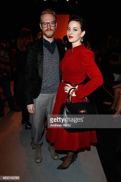 Thomas Kirchgrabner and Lena Hoschek attend the Marina Hoermanseder show during MercedesBenz Fashion Week Autumn/Winter 2014/15 at Brandenburg Gate...