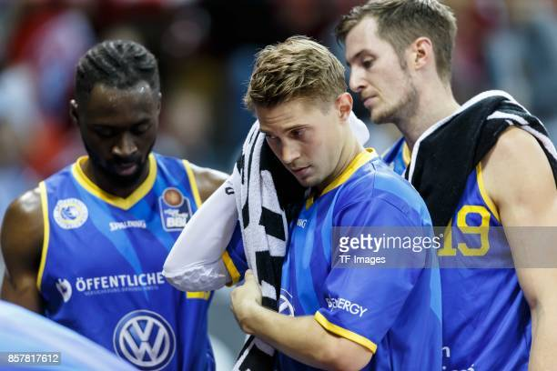 Thomas Klepeisz of Braunschweig looks on during the easyCredit BBL Basketball Bundesliga match between FC Bayern Muenchen and Basketball Loewen...